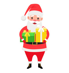 santa claus holding gift boxes vector image