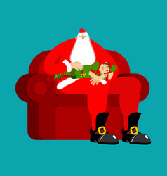 santa claus on chair stroking elf sleep christmas vector image