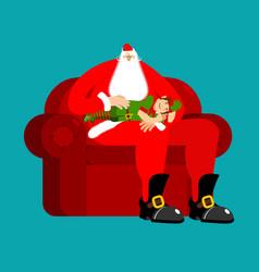 Santa claus on chair stroking elf sleep christmas vector