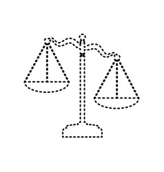 scales of justice sign black dashed icon vector image