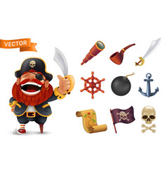 sea pirate icon set with red-bearded captain vector image