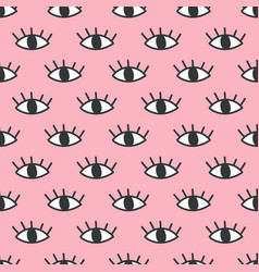 seamless open eye pattern on pink background vector image