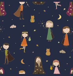 Seamless pattern background magic the sorcerer vector