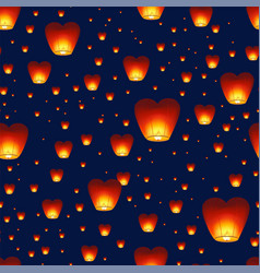 Seamless pattern with chinese lanterns flying in vector