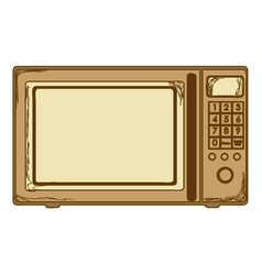 sepia silhouette with oven microwave vector image