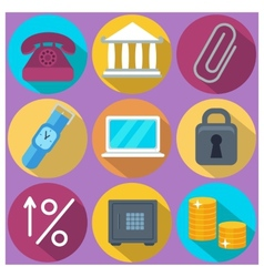 Set of 9 finance and banking colorful round icons vector image