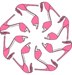 Set of different color shoes in circle vector image