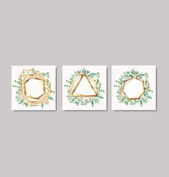 set of golden frames and leafs wreath vector image