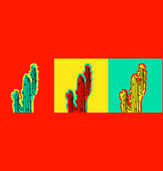 set of pop art cactus pictures vector image