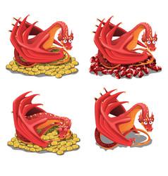 set red dragon guarding his treasures and vector image