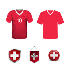 set soccer jersey or football kit template for vector image