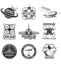 Set vintage space drone aeronautics flight vector
