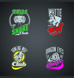 set vintage wild animal retro logos colored vector image