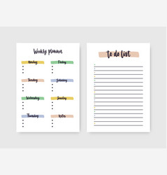 Set weekly planner and to-do-list templates vector