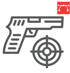 Shooter game line icon video games and gun vector