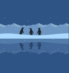 silhouette of penguin beauty scenery on snow hill vector image