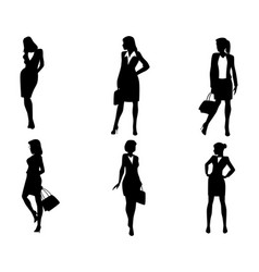 Six businesswoman silhouettes vector