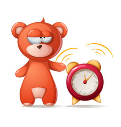 Sleeping bear funny cute alarm vector