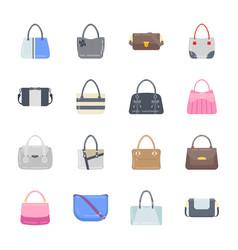 Stylish purses flat icons vector