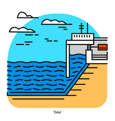 tidal power plant form hydropower that vector image