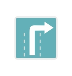 Turn right traffic sign icon flat style vector image