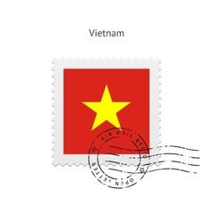 Vietnam Flag Postage Stamp vector image