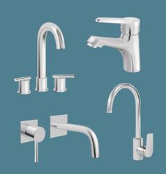 water tap realistic aqua chrome kitchen utensil vector image