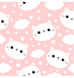 white cat face seamless pattern cloud star in the vector image