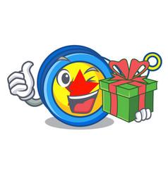 With gift yoyo mascot cartoon style vector