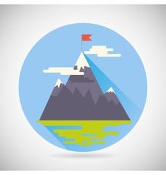 Achievement Top Point Flag Goal Symbol Mountain vector image vector image