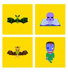 assembly flat bat book skull zombie men vector image vector image