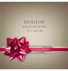 Elegant Holiday background with red bow and place vector image