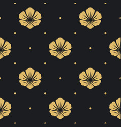 seamless pattern black with flower vector image vector image