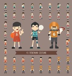 Set of 43 sportman costume characters vector image