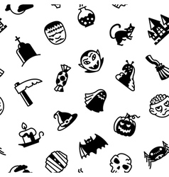 Halloween black and white vector image vector image