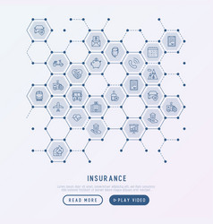 insurance concept in honeycombs vector image vector image