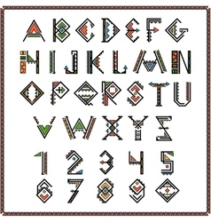 Native american indian font or mexican alphabet vector image vector image