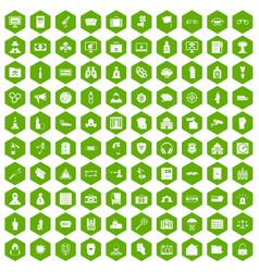 100 crime icons hexagon green vector