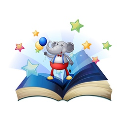 A book with an elephant holding two balloons vector image