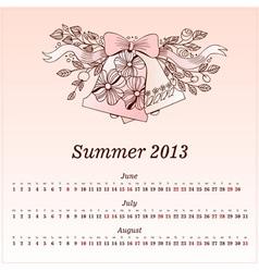 Calendar 2013 Summer vector image vector image