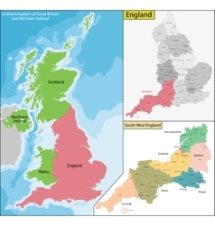 Map of England vector image vector image