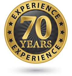 70 years experience gold label vector image vector image