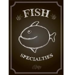 Blackboard fish restaurant menu card vector image vector image