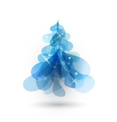 Blue Christmas tree with blurred lights on white vector image vector image
