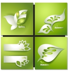 Card with stylized leaves vector image vector image