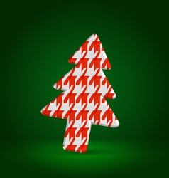 Checkered fir tree symbol over dark green vector image