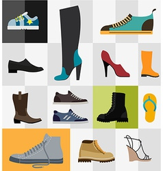 Set of flat footware icons vector image vector image