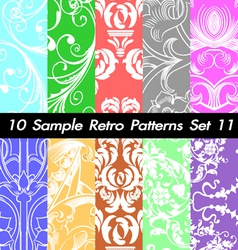 10 Retro Patterns Textures Set 11 vector