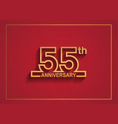 55 anniversary design with simple line style vector