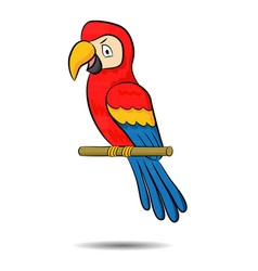 a cute cartoon three colored parrot on a branch vector image